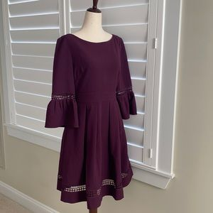 Eliza J fit and flare sz 6 boat neck bell sleeve dress